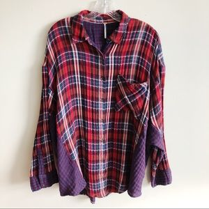 Free People Long Dolman Sleeve Plaid Shirt Medium